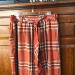 New free people orange flannel wide leg pants l